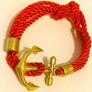 EUC Gold Anchor Knot Nautical Red Cord Bracelet